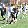 GEOFF SMITH — THE BERKSHIRE EAGLE<br /> Mount Greylock's Toby Foehl tries to shield the ball away from a defender during Saturday's Western Massachusetts Division VIII final at Springfield Central.