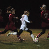 Caroline Flynn rips a shot and scores the first goal for Mount Greylock. (Jack Guerino/North Adams Transcript)