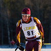 Lenox skier Ari Yantovsky crosses the finish line in Sunday's JV Race. He finished 10th.
