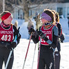 Mt. Greylock skiers Josie Smith and Kate Pfister celebrate at the finish line.