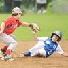 GEOFF SMITH — THE BERKSHIRE EAGLE<br /> Ethan Breitmaier of Pittsfield National slides safely into second base underneath the tag of Pittsfield American's Nick Brindle during the 11-12 District I Little League championship game at Chamberlain Field in Dalton on Friday, July 14, 2017.