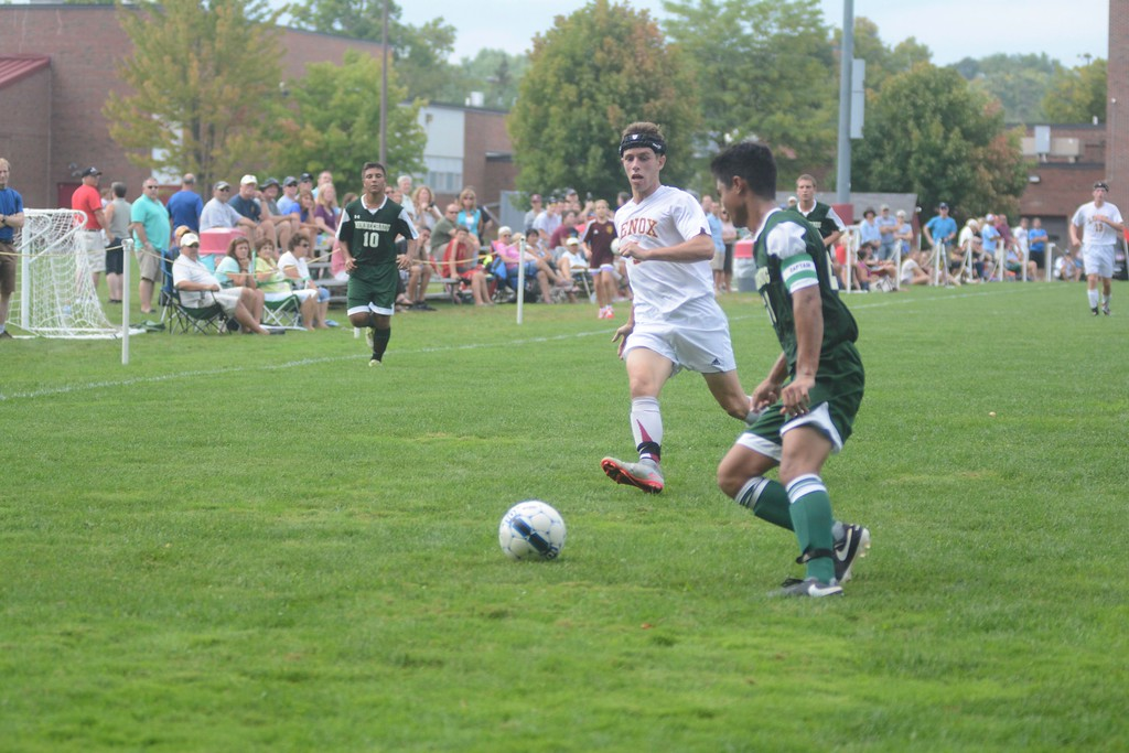 . Lenox\'s Michael Abdalla tries to gain possession of the ball from Minnechaug\'s Michael Alexander during a soccer game in Lenox on Saturday, September 10, 2016. Gillian Jones � The Berkshire Eagle | photos.berkshireeagle.com