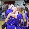 GEOFF SMITH - THE BERKSHIRE EAGLE<br /> Pittsfield sophomore Lexi Garvey (21) hugs senior Peyton Steinman. March 11, 2017.