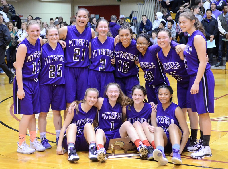 GEOFF SMITH - THE BERKSHIRE EAGLE<br /> The Pittsfield girls basketball team poses with the Western Mass. Division II trophy after beating Belchertown at the Curry Hicks Cage. March 11, 2017.