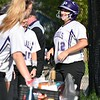 GEOFF SMITH — THE BERKSHIRE EAGLE<br /> Pittsfield's Giuliana Pierce smiles as she comes back to the bench after hitting a solo home run against Hoosac Valley.