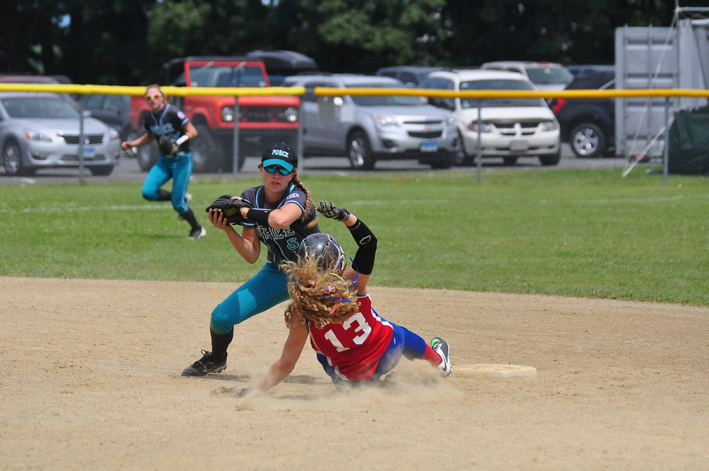 . Berkshire Force\'s Allie Hunt tags out a Rochester player at second base, on Sunday, August, 3, 2014. Gillian Jones / Berkshire Eagle Staff / photos.berkshireeagle.com