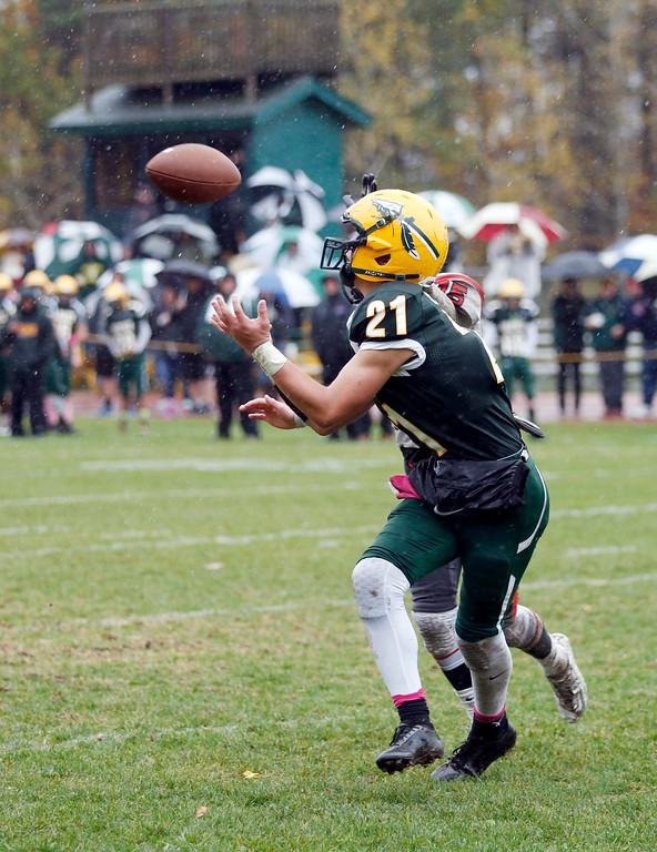 . Taconic\'s Devon Walker catches a touchdown pass in the endzone in a football game against South Hadley at Taconic High School in Pittsfield. Saturday, October 22, 2016. Stephanie Zollshan � The Berkshire Eagle | photos.berkshireeagle.com