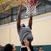 BEN GARVER — THE BERKSHIRE EAGLE<br /> The Taconic Braves had their first day of basketball practice in the new gym, Monday, November 26, 2018. Mohamed Sago dunks a shot.