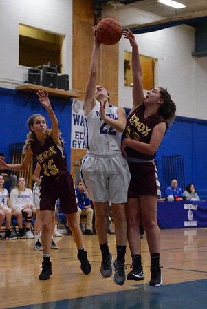 GEOFF SMITH — THE BERKSHIRE EAGLE<br /> Lenox's Mia Giardina blocks a shot by Wahconah's Jilly Cote during a game Friday in Dalton.