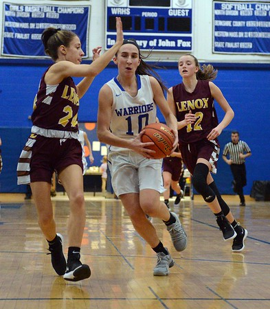 GEOFF SMITH — THE BERKSHIRE EAGLE<br /> Wahconah's Maria Gamberoni gets ready to go up for a shot as Lenox's Nicole Gamberoni guards her during a game Friday in Dalton.