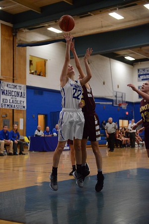 GEOFF SMITH — THE BERKSHIRE EAGLE<br /> Wahconah's Jilly Cote goes up for a shot as Lenox's Julie Pehlert tries to defend during a game Friday in Dalton.
