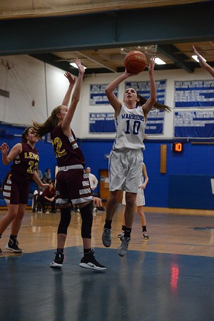 GEOFF SMITH — THE BERKSHIRE EAGLE<br /> Wahconah's Maria Gamberoni goes up for a shot during a game Friday against Lenox in Dalton.