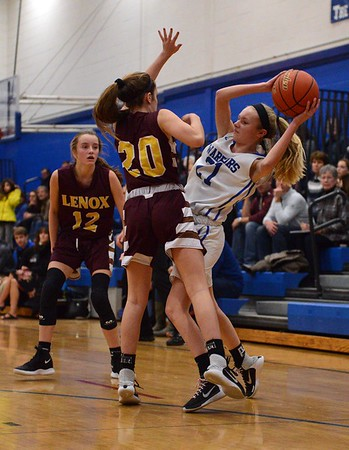 GEOFF SMITH — THE BERKSHIRE EAGLE<br /> After recording a steal, Wahconah's Morgan Marauszwski tries to find a teammate to pass to as Lenox's Tabor Paul tries to get the ball back during a game Friday in Dalton.