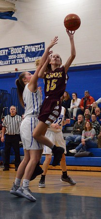 GEOFF SMITH — THE BERKSHIRE EAGLE<br /> Lenox's Julie Pehlert goes up for a layup during a game against Wahconah on Friday in Dalton.