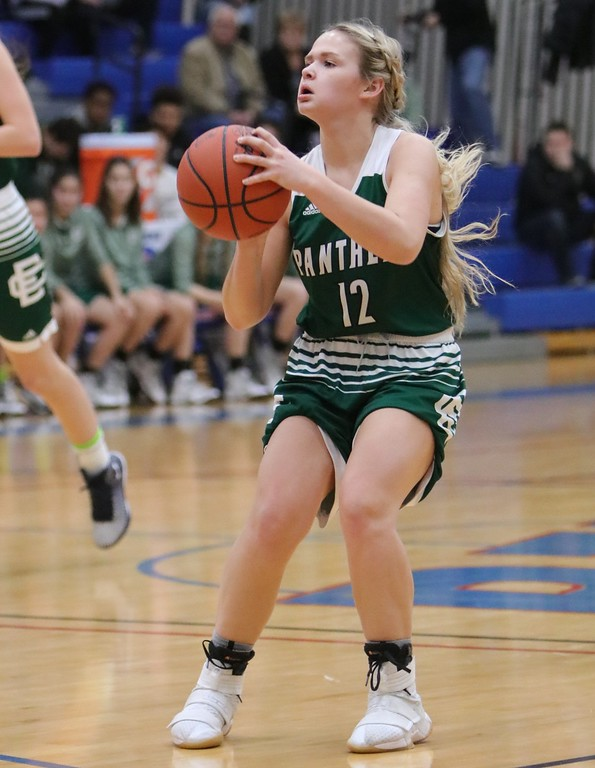 . Elyria Catholic\'sFaith Williams stops at the 3-point line and drops the shot. Amanda K. Rundle -- The Morning Journal