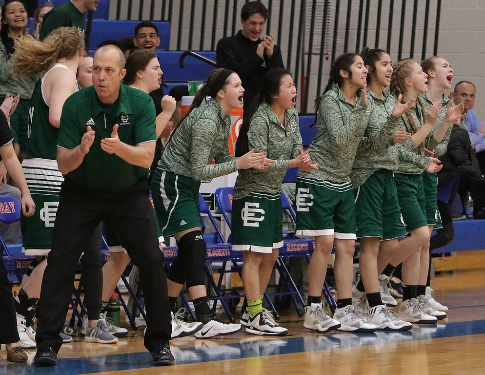 . The Elyria Catholic bench cheers on the team. Amanda K. Rundle -- The Morning Journal