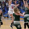 Bay's Maddie Holmes goes up for a shot against Elyria Catholic. Amanda K. Rundle -- The Morning Journal