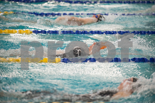 Brook Hill School senior Bailey Bickerstaff, 18, of Tyler, competes in the 100 yard backstroke in the TAPPS North Region Championships Friday Jan. 29, 2016 held at Mansfield ISD Natatorium. Bickerstaff finished second with a time of 1:03.56.   (Sarah A. Miller/Tyler Morning Telegraph)