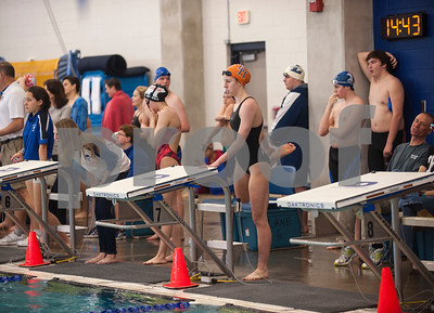 Brook Hill School senior Bailey Bickerstaff, 18, of Tyler, waits to compete during the TAPPS North Region Championships Friday Jan. 29, 2016 held at Mansfield ISD Natatorium.   (Sarah A. Miller/Tyler Morning Telegraph)