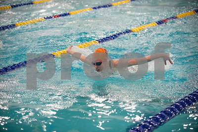 Brook Hill School senior Bailey Bickerstaff, 18, of Tyler, swims the 100 yard butterfly during the TAPPS North Region Championships Friday Jan. 29, 2016 held at Mansfield ISD Natatorium. She placed third with a time of 1:02.76.  (Sarah A. Miller/Tyler Morning Telegraph)