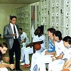Courtesy John Carroll University<br /> Mike Moran in the locker room as St. Joseph head coach.