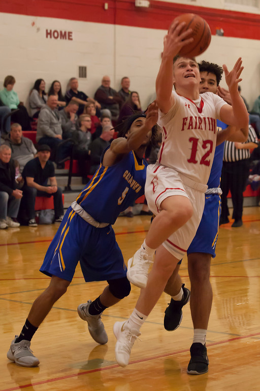 . Fairview\'s Luke Howes reaches for the basket as Clearview\'s Anthony Terry (right) and Josiah Hitchens try to impede his shot. Jen Forbus -- The Morning Journal