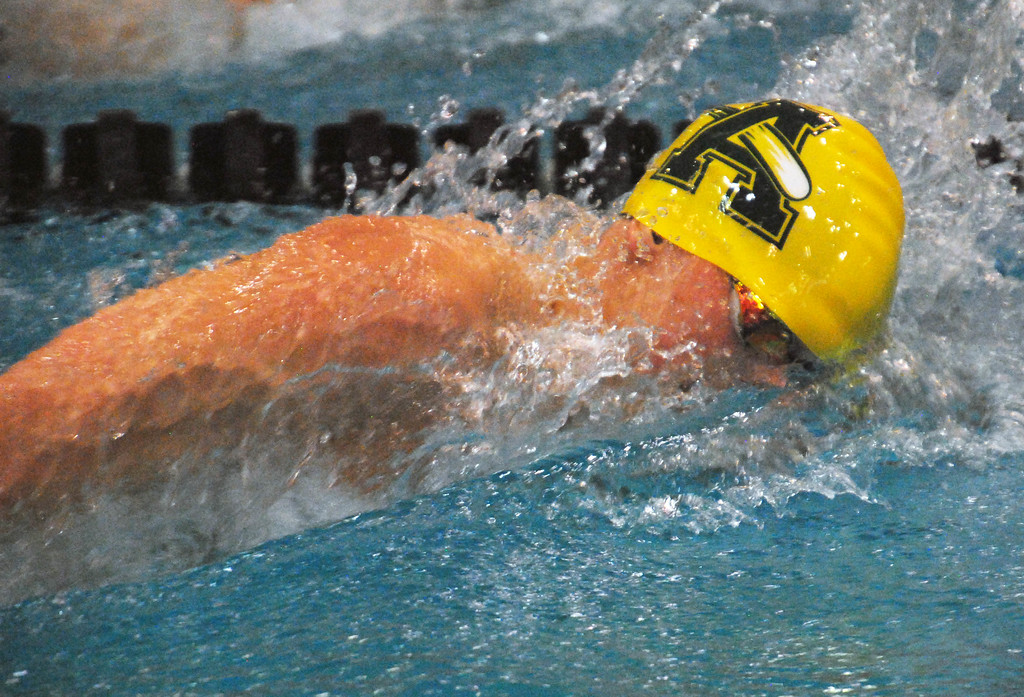 . Jon Behm - The Morning Journal<br> Amherst senior Nathan Moore swims the 200 freestyle at the Division I state finals on Feb. 24 at the C.T. Branin Natatrium in Canton. Moore placed 13th with a time of 1:42.78.