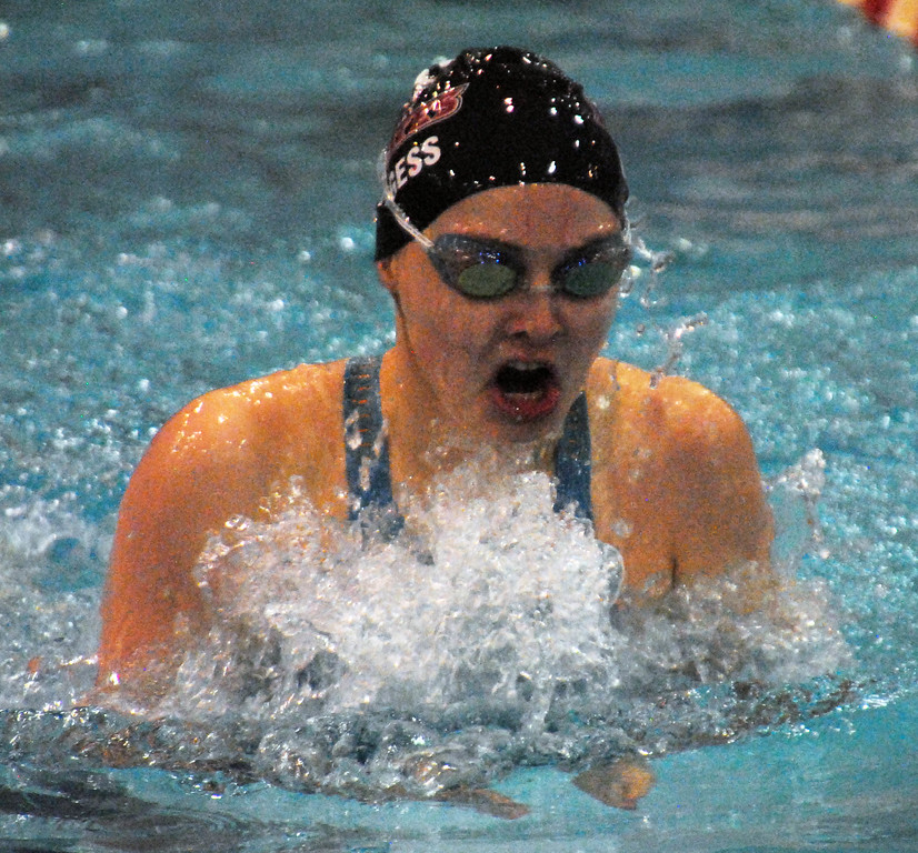 . Jon Behm - The Mornign Journal<br> Rocky River junior Katherine Burgess swims the 100 breaststroke at the Division I state meet on Feb. 24 at the C.T. Branin Natatorium in Canton. Burgess finished 15th win a time of 1:06.53.