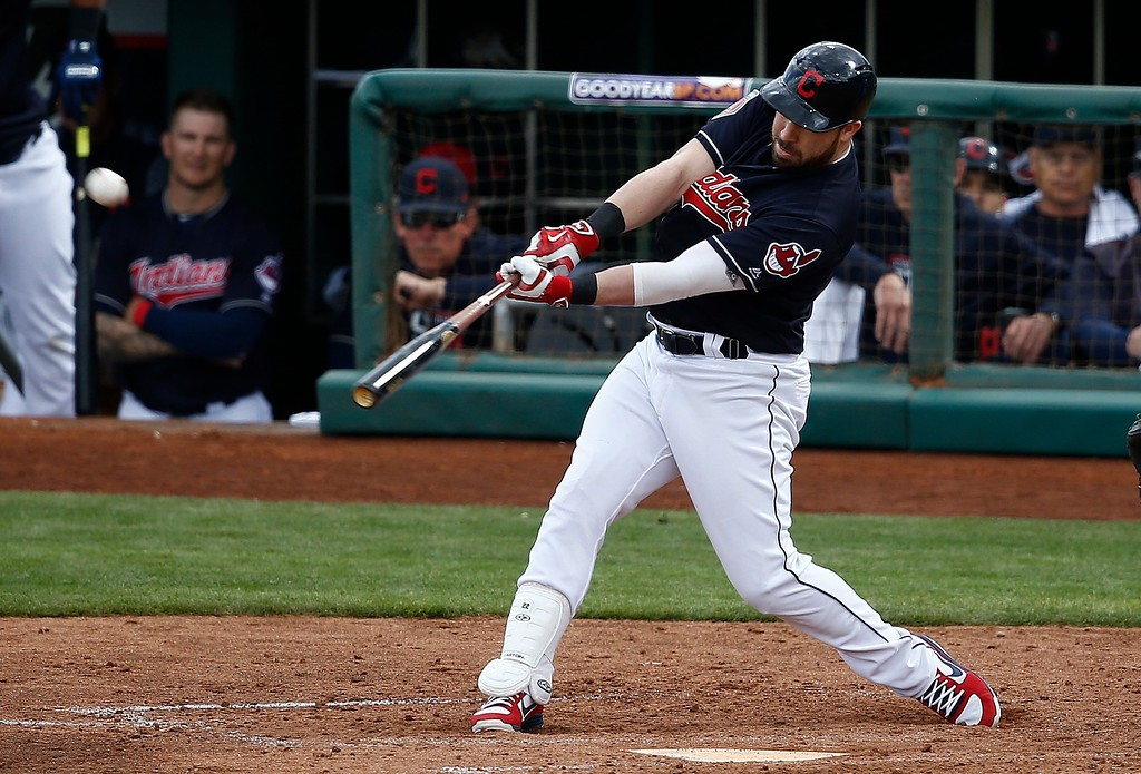 . Cleveland Indians\' Jason Kipnis connects for a three-run home run against the Oakland Athletics during the fifth inning of a spring training baseball game Tuesday, Feb. 27, 2018, in Goodyear, Ariz. (AP Photo/Ross D. Franklin)