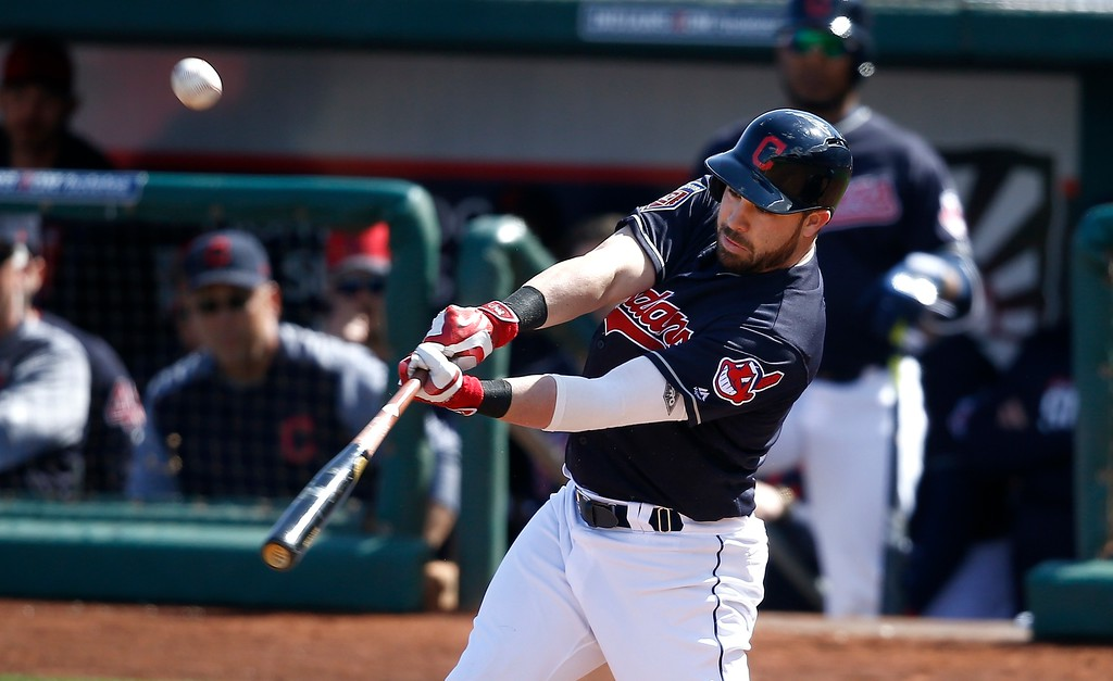 . Cleveland Indians\' Jason Kipnis connects for a home run against the Oakland Athletics during the third inning of a spring training baseball game Tuesday, Feb. 27, 2018, in Goodyear, Ariz. (AP Photo/Ross D. Franklin)