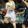 "Monarch High's Mae Williams (43) drives to the basket against Thunder Ridge High  during their game at the Denver Coliseum on Saturday March 3, 2012.<br /> Photo by Paul Aiken / The Daily Camera /  <a href=""http://www.bocopreps.com"">http://www.bocopreps.com</a>"