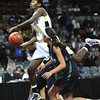"Monarch High's Alexus Johnson (44)  over Thunder Ridge High's Taylor Williams (23)  during their game at the Denver Coliseum on Saturday March 3, 2012.<br /> Photo by Paul Aiken / The Daily Camera /  <a href=""http://www.bocopreps.com"">http://www.bocopreps.com</a>"