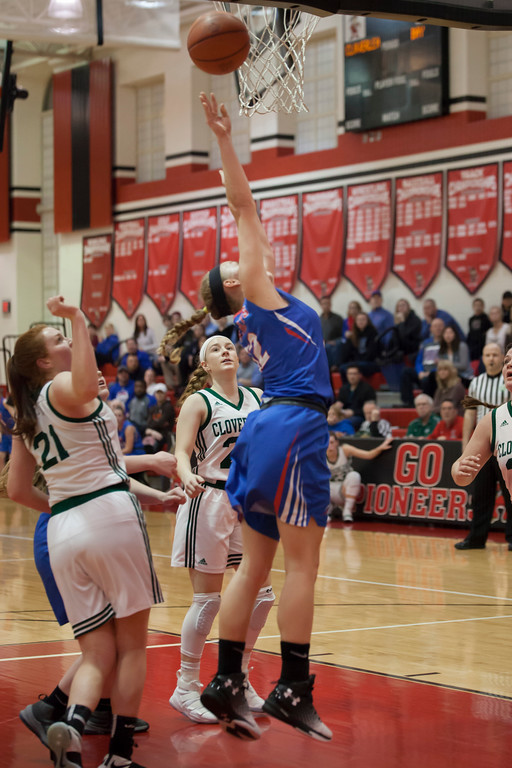 . Making her way past Cloverleaf\'s defense, Bay\'s Maddie Edgerly lays the ball up for two. Jen Forbus -- The Morning Journal