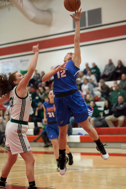 . Rocket Maddie Edgerly takes flight for a shot during the Division II District Finals game Thursday night against the Cloverleaf Colts. Jen Forbus -- The Morning Journal