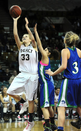 """Legacy High's Courtney Smith  (33) shoots as Doherty High's during their game at the Denver Coliseum on Saturday March 3, 2012.<br /> Photo by Paul Aiken / The Daily Camera /  <a href=""""http://www.bocopreps.com"""">http://www.bocopreps.com</a>"""