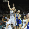 "Legacy High's Shayna Kuyper (14) shoots over Doherty High's Danielle Santos (12)  during their game at the Denver Coliseum on Saturday March 3, 2012.<br /> Photo by Paul Aiken / The Daily Camera /  <a href=""http://www.bocopreps.com"">http://www.bocopreps.com</a>"