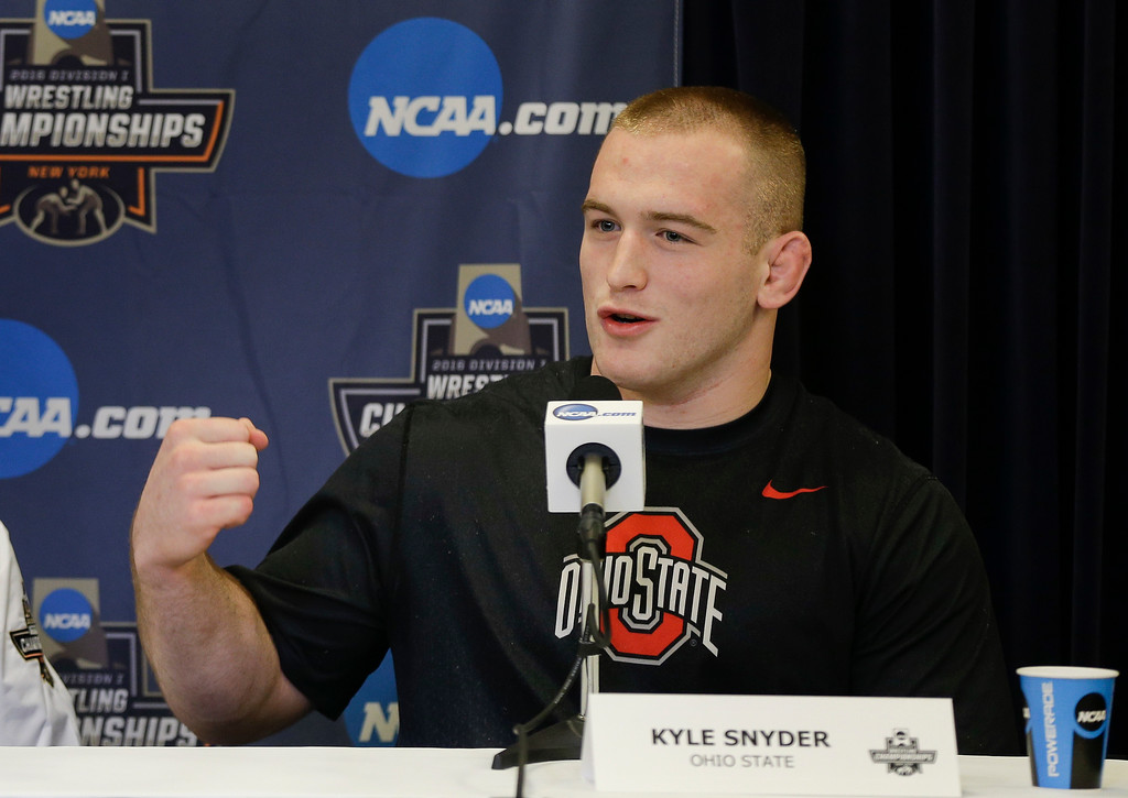 . World Champion and Ohio State wrestler Kyle Snyder answers questions during a news conference, Wednesday, March 16, 2016, in New York. The NCAA Division I wrestling championships run Thursday through Saturday at Madison Square Garden. (AP Photo/Julie Jacobson)