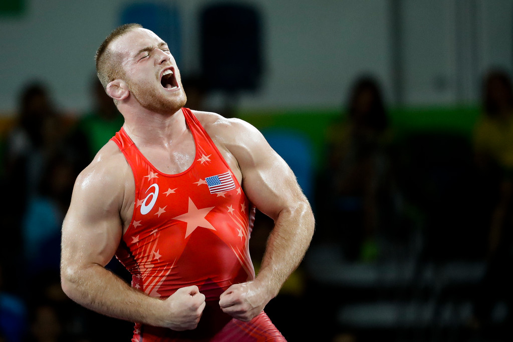 . United States\' Kyle Frederick Snyder reacts after defeating Georgia\'s Elizbar Odikadze during the men\'s 97-kg freestyle wrestling competition at the 2016 Summer Olympics in Rio de Janeiro, Brazil, Sunday, Aug. 21, 2016. (AP Photo/Markus Schreiber)