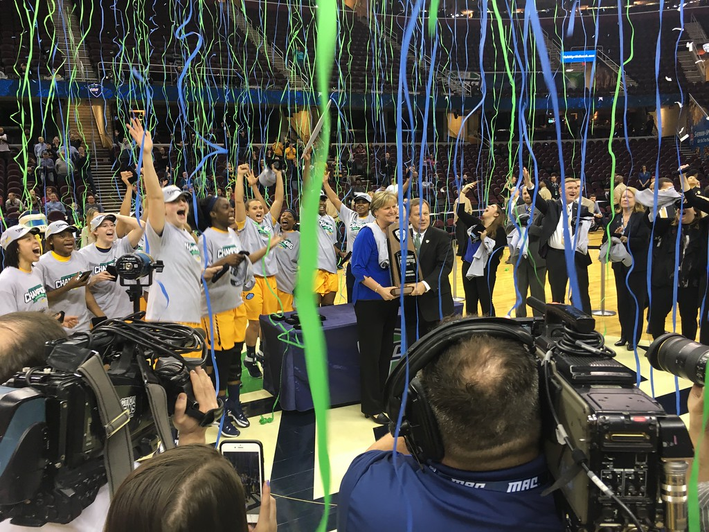 . On-court celebration for Toledo at The Q , complete with streamers and confetti