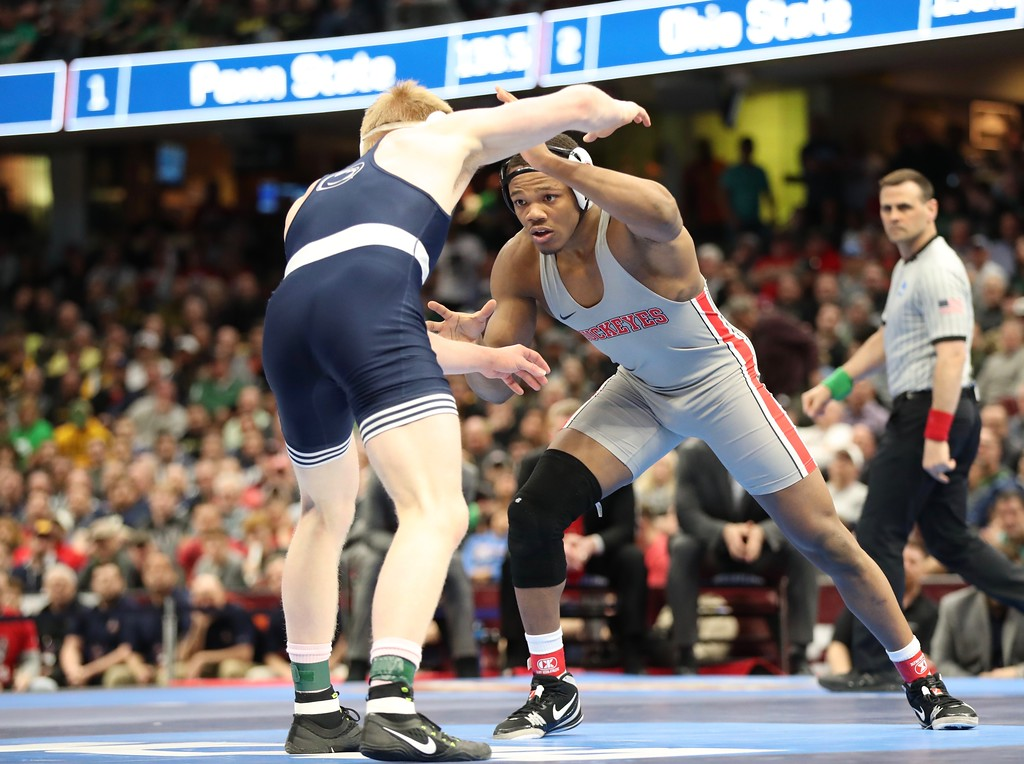 . Tim Phillis - The News-Herald Photos from the championship round of the NCAA Division I wrestling tournament on March 17, 2018, at Quicken Loans Arena.