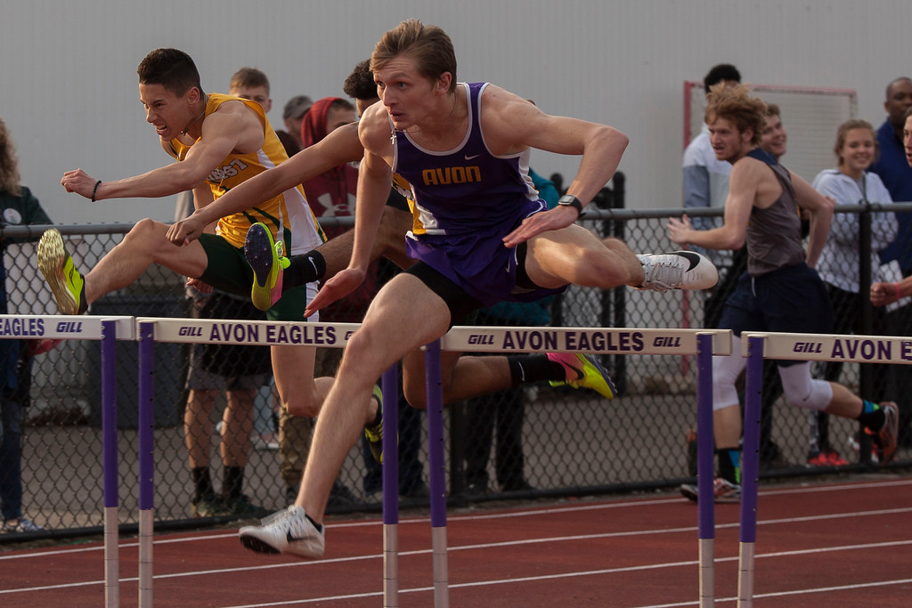 . In the boys 110m hurdles, Avon\'s Mike Rennett claimed first place. Jen Forbus -- The Morning Journal
