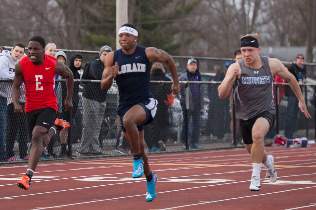 . Despite great efforts from Midview and Elyria, no one could keep up with Lorain\'s Zion Cross who set a meet record in the boys 100m dash. Jen Forbus -- The Morning Journal