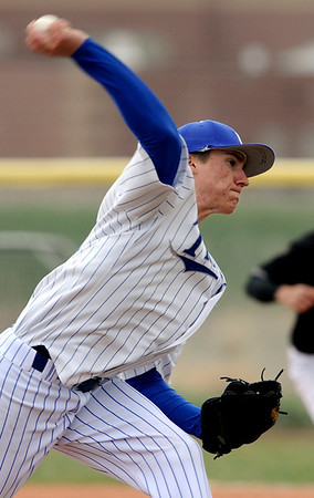 Longmont's Kevin Shaffer pitches against Silver Creek during their game at Silver Creek in Longmont, Colorado April 16, 2010.  CAMERA/Mark Leffingwell