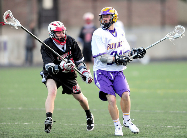 Boulder's Griffin Bohn (right) looks to shoot while being pressured by Fairview's Derek Rikke (left) during their lacrosse game at Recht Field in Boulder, Colorado April 14, 2011.  CAMERA/Mark Leffingwell