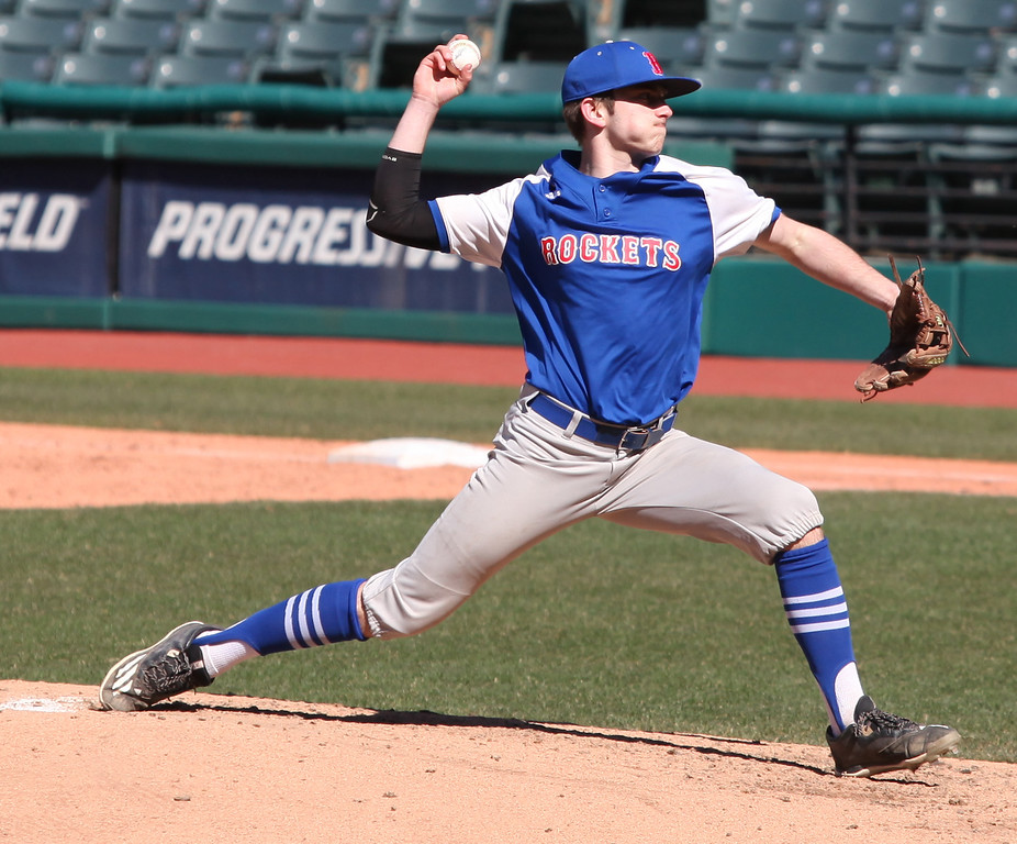 . Bay reliever Kevin Linder delivers a pitch against Eastlake North during the Hardball Classic at Progressive Field. Randy Meyers -- The Morning Journal