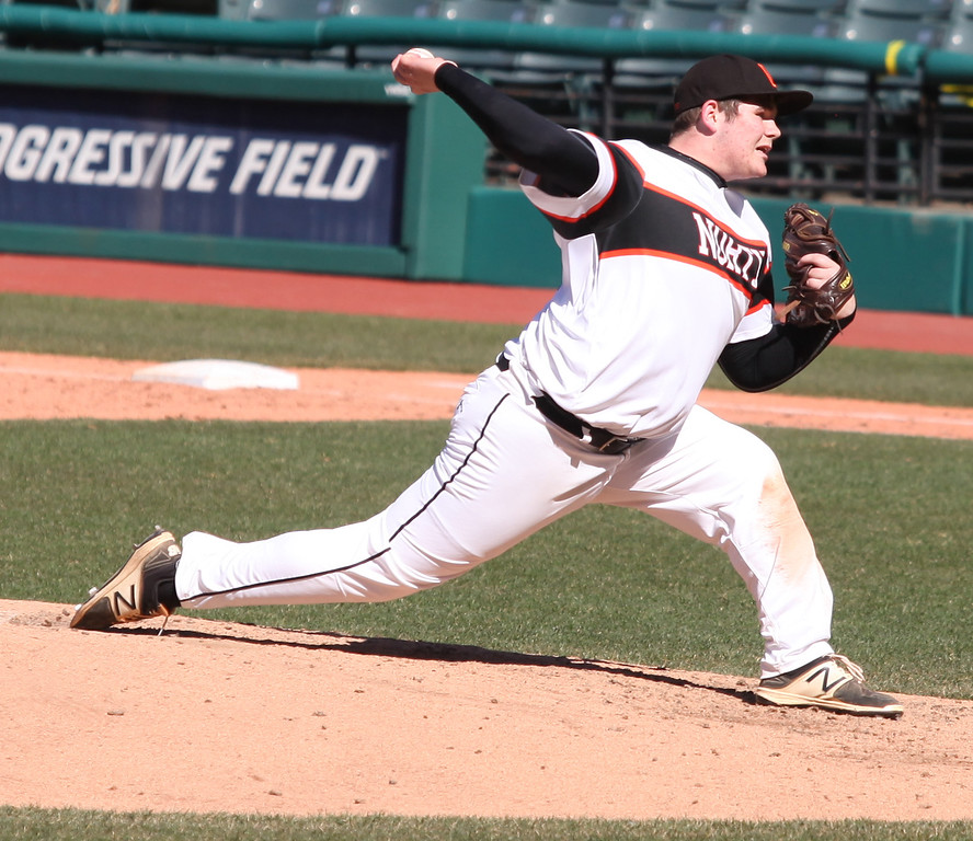 . Cam Shreves of Eastlake North delivers a pitch against Bay during the Hardball Classic. Randy Meyers -- The Morning Journal