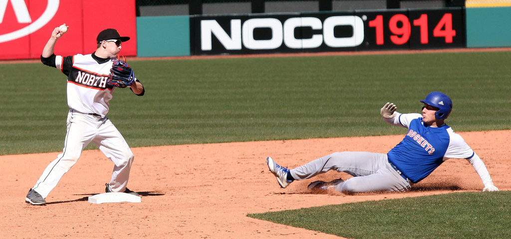 . Zach Mitchell of Eastlake North forces out Ben Caskey of Bay at second base. Randy Meyers -- The Morning Journal