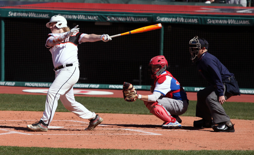 . Seth Higham of Eastlake North lines a base hit against Bay at the Hardball Classic. Randy Meyers -- The Morning Journal