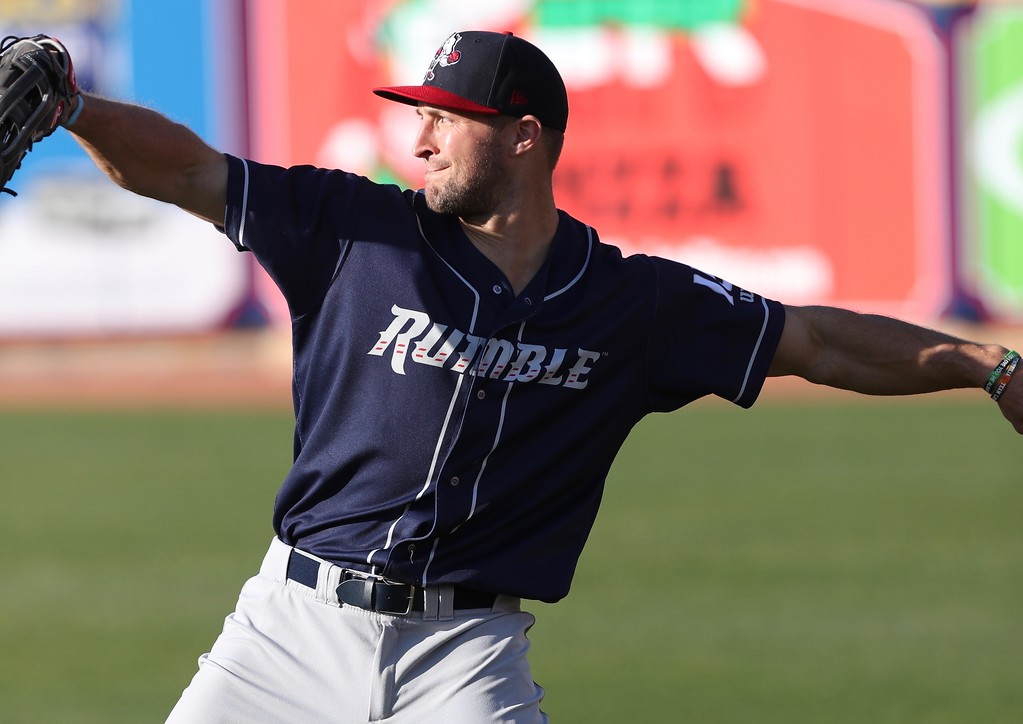. Tim Phillis - The News-Herald Tim Tebow of Double-A Binghamton on April 30 at Canal Park in Akron.