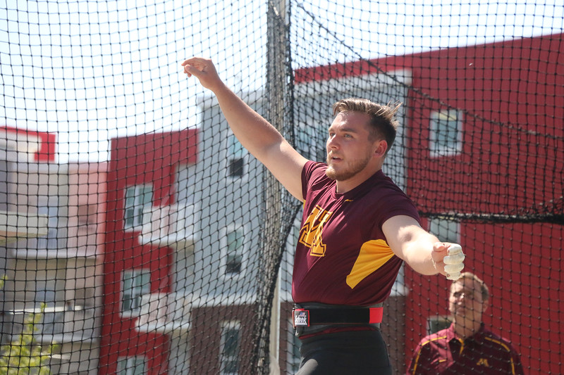 Courtesy Brian Deutsch, University of Minnesota Athletics<br /> Willoughby South graduate Sean Donnelly practices on May 5 at the University of Minnesota.